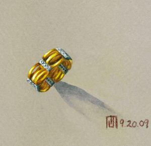 """The Blues"" gold ring with diamonds rendering by Joana Miranda"
