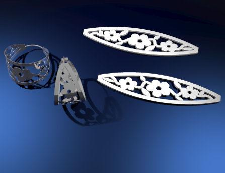 CAD rendering for Flower Hoop Earrings by Joana Miranda