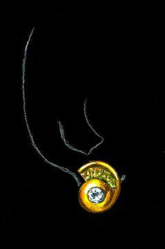 Watercolor and Gouache Rendering of 18K Yellow Gold, Diamond and Citrine Nautilus Earring by Joana Miranda