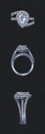 Watercolora and Gouache Pear Shaped Diamond Ring Rendering by Joana Miranda