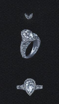 Watercolor and Gouache Pear-Shaped Diamond Ring Renderingy by Joana Miranda