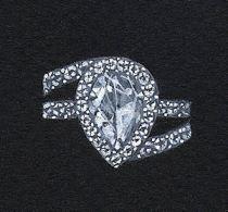 Watercolor and Gouache Pear-Shaped Diamond Bypass Ring Rendering by Joana Miranda
