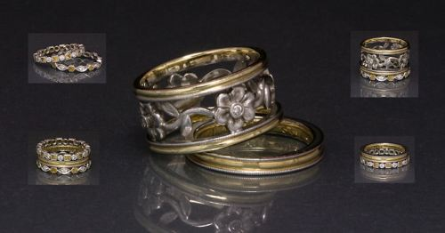 Flower Trellis Engagement Ring (with Complimenting Diamond and Citrine Eternity Bands) by Joana Miranda
