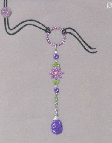 Pencil and Gouache Jeweled Flower Drop Pendant Rendering by Joana Miranda