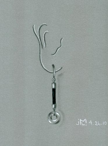 Silver and Black Rubber Earring Design by Joana Miranda