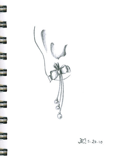 """Pencil Sketch of Bow Earring with 3 Stem Pearl """"Bouquet"""""""