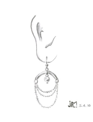 Pencil sketch of chandelier earring featuring chain swags