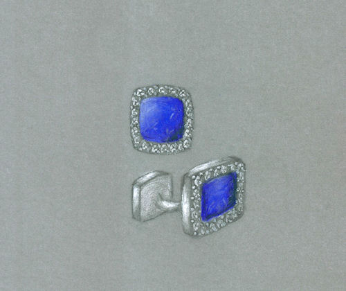Colored pencil and gouache rendering of lapis lazuli and diamond cuff links by Joana Miranda