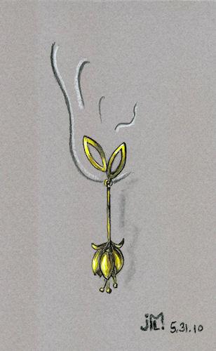 Pen and Ink Gold Fuschia Earring Rendering by Joana Miranda