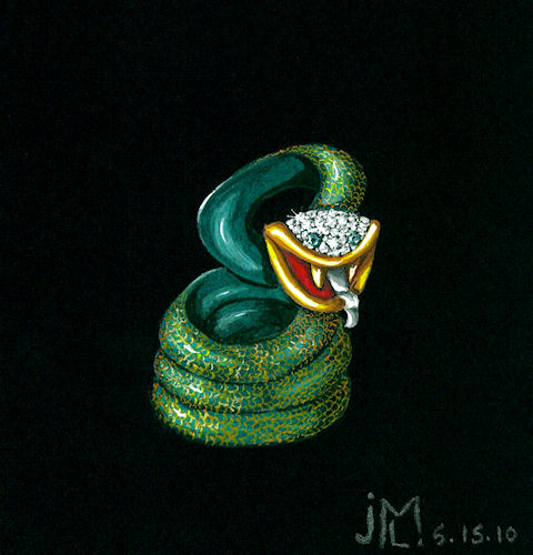Watercolor and gouache painting of green enamel, gold and diamond snake brooch by Joana Miranda