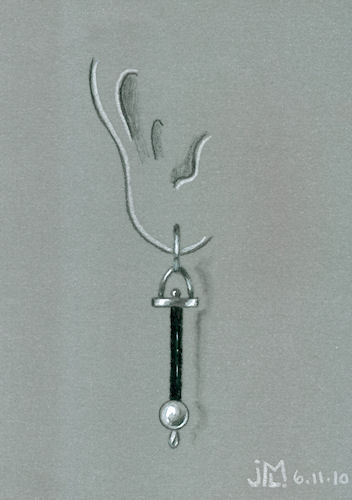 "Pencil and Gouache Black Rubber and Pearl ""Swing"" Earring Rendering by Joana Miranda"