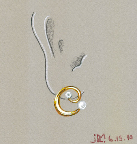 Watercolor and gouache gold coil earring with diamond and pearl by Joana Miranda