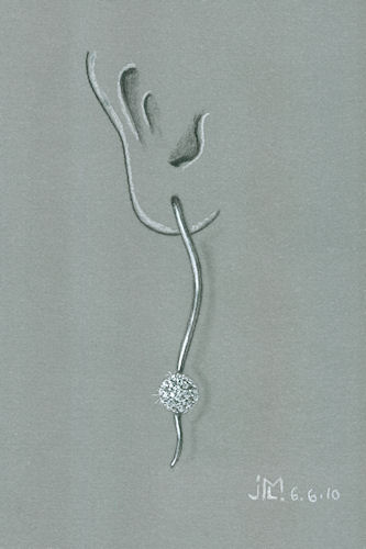 Pencil and gouache rendering of diamond drop ball earring by Joana Miranda