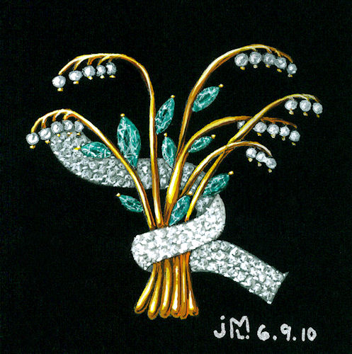 Watercolor and gouache rendering of jeweled flower bouquet by Joana Miranda