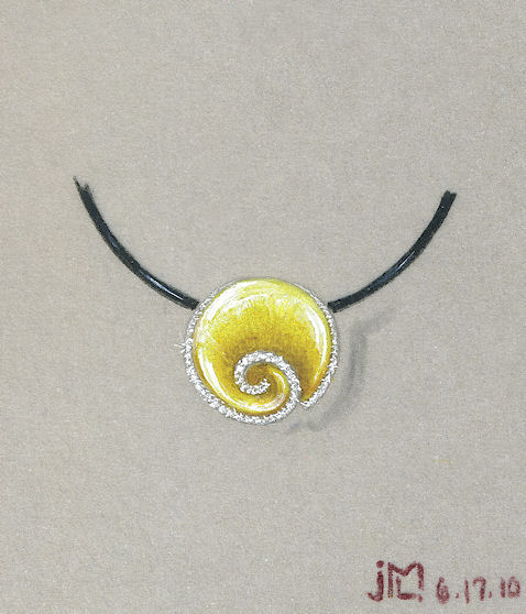 Colored pencil and gouache rendering of gold shell pendant with diamond accents by Joana Miranda