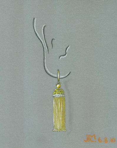 Colored pencil and gouache drawing of gold, diamond and champagne diamond tassle earring by Joana Miranda