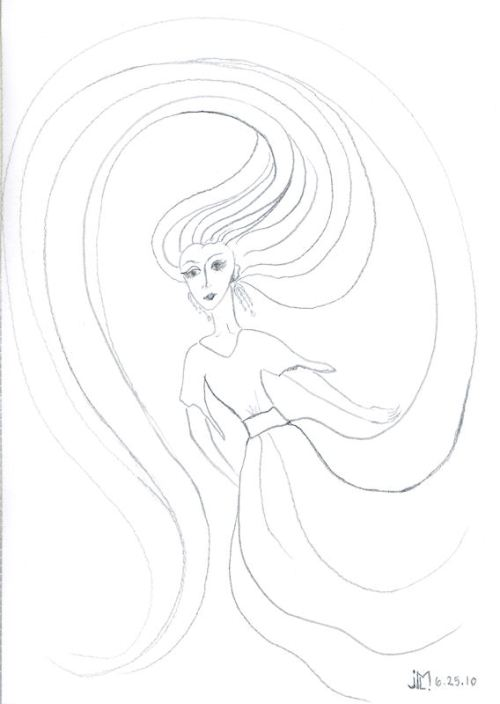 "Line drawing of ""Jeweled Lady #5"" by Joana Miranda"