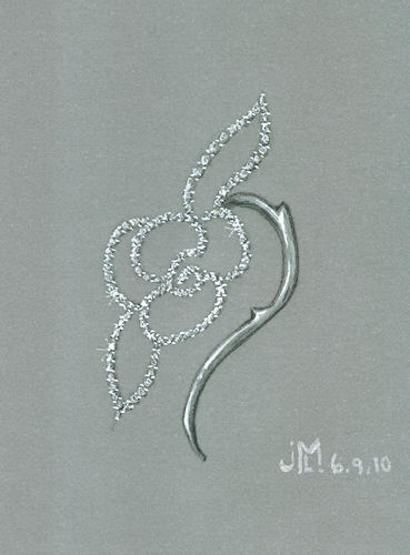 Pencil and gouache rendering of diamond rose brooch with thorns