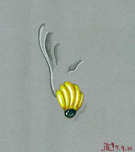 "Colored pencil and gouache ""banana"" inpired earring rendering by Joana Miranda"