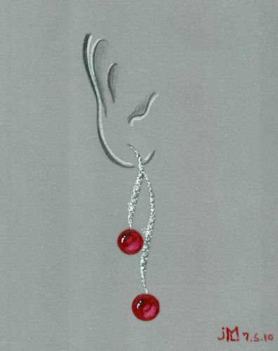"Colored pencil and gouache rendering of diamond ""cherry"" drop earrings by Joana Miranda"