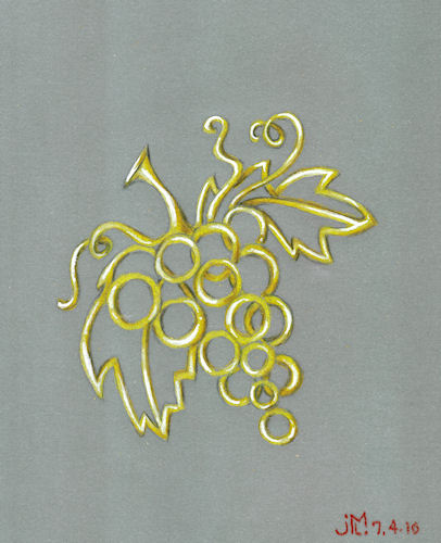 Colored pencil and gouache gold grape brooch rendering by Joana Miranda