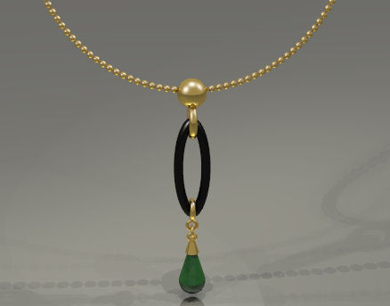 Computer Aided Design of Jade, Gold and Onyx Pendant by Joana Miranda