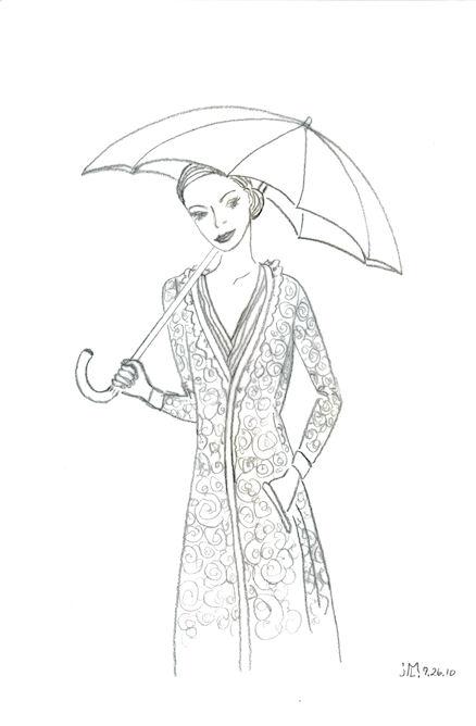 Pencil Drawing of lady in the rain by Joana Miranda