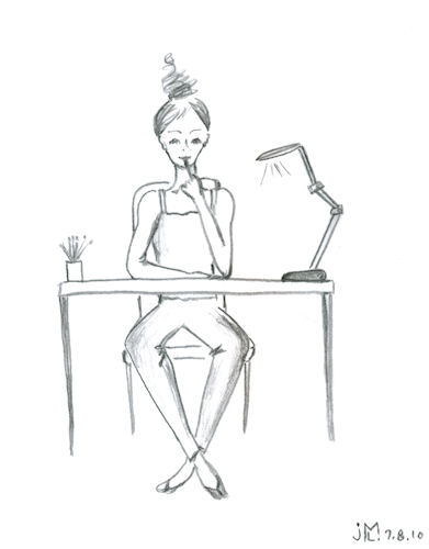 Line drawing (self-portrait) of the designer at work