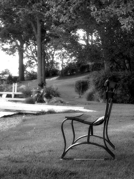Black and white photo of park bench by the side of a lake