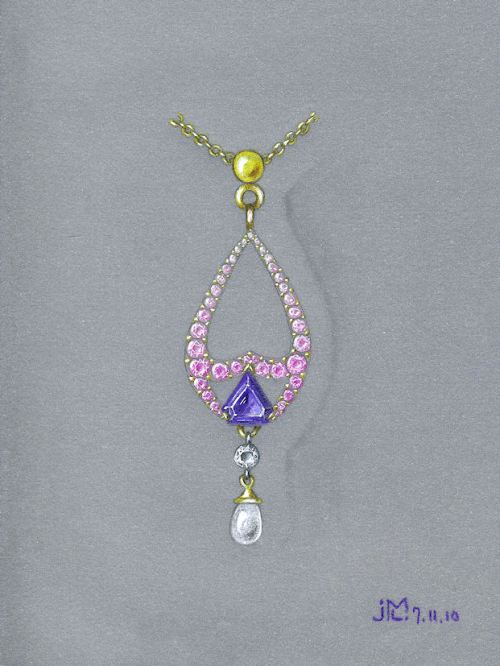 Colored pencil and gouache pink sapphire, amethyst, diamond and pearl pendant rendering by Joana Miranda