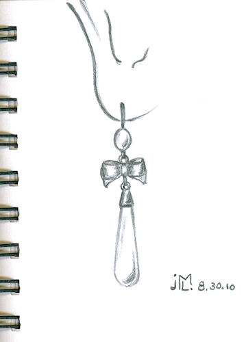 Pencil sketch of cabochon, bow and tear drop dangle earring by Joana Miranda
