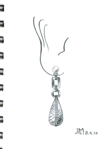 Pencil sketch of briolette drop earring with diamond accents by Joana Miranda