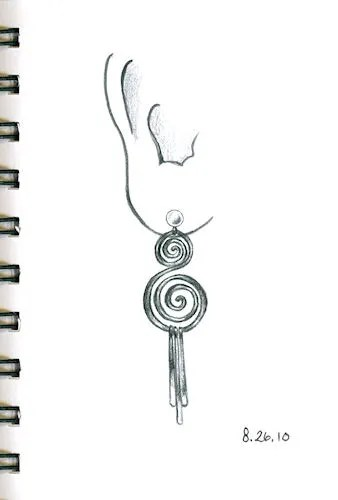 Pencil drawing of double spiral earring by Joana Miranda