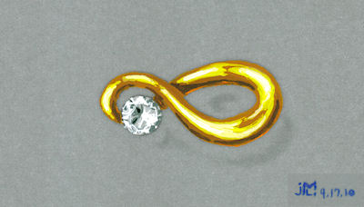 """Watercolor and Gouache Gold and Diamond """"Infinity"""" Brooch Rendering by Joana Miranda"""