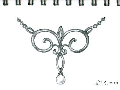 Pencil sketch of scroll-work pendant by Joana Miranda inspired by NY lamp post