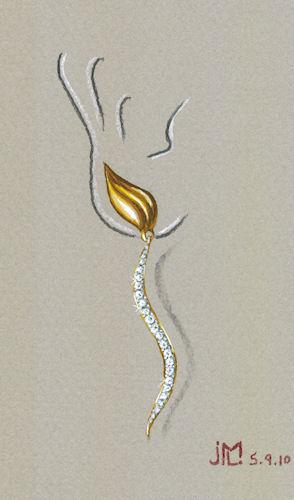 Watercolor and Gouache Leaf and S-Diamond Drop Earring by Joana Miranda