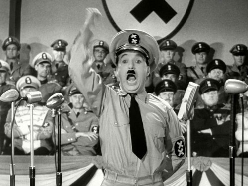 Charlie Chaplin playing Hitler (and a Jew) in the Great Dictator