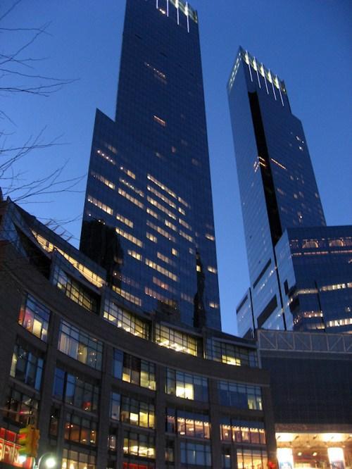 Photo of twin towers above Columbus Circle taken by Joana Miranda