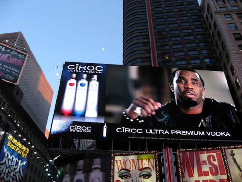 Photo of digital billboard with Sean Combs and Ciroc Ad taken in Times Square by Joana Miranda