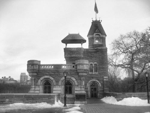 Black and White Photo of Belvedere Castle in Central Park Taken by Joana Miranda