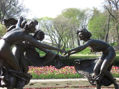 Trio of bronze dancing girls in the Conservatory Garden, photo taken by Joana Miranda