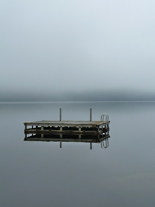 Photo of dock on lake in early morning fog, taken by Joana Miranda