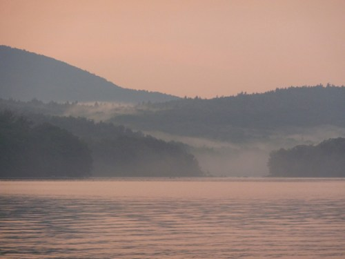Photo of mist over mountains at sunset over Goose Pond, NH, taken by Joana Miranda