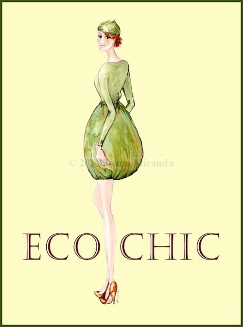 Whimsical fashion-inspired watercolor illustration by Joana Miranda