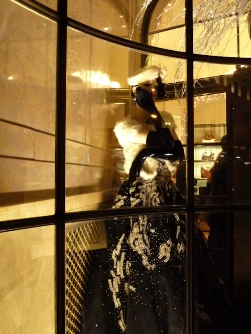 Photo of glamorously dressed mannequin at Bergdorf's taken at Christmas time by Joana Miranda