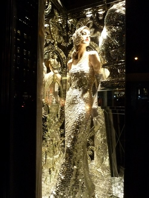 Photo of mannequin all dressed in silver at 2011 Bergdorf Goodman window display, taken by Joana Miranda