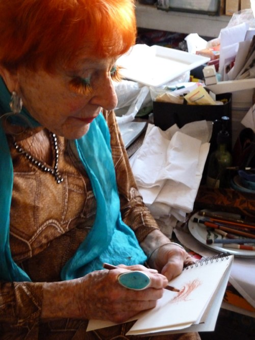 Ilona Royce-Smithkin at work sketching, photo taken by Joana Miranda
