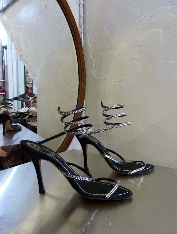 Photo of sparkly high-heeled shoes, taken by Joana Miranda