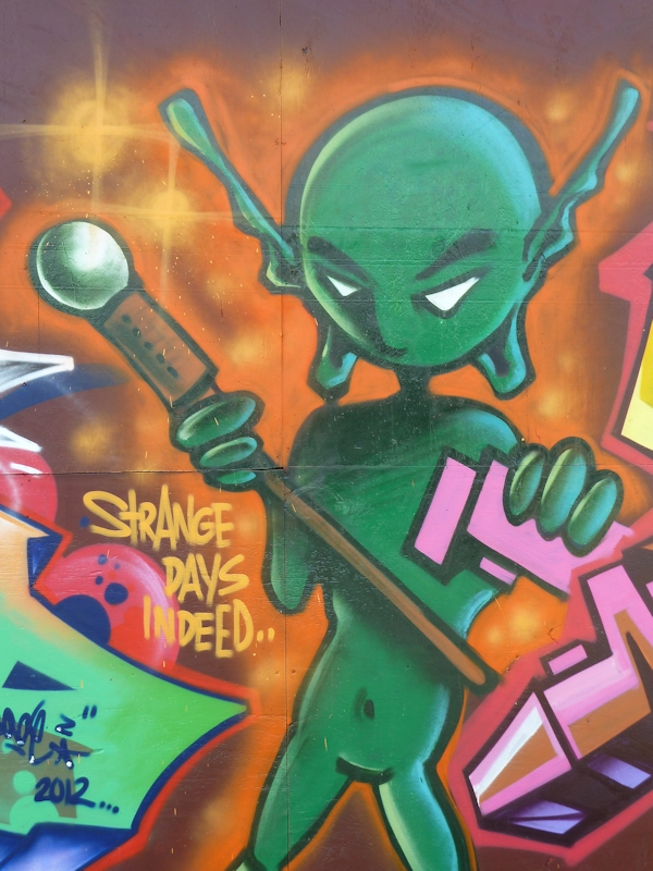 Photo of graffiti depicting a green alien, taken by Joana Miranda