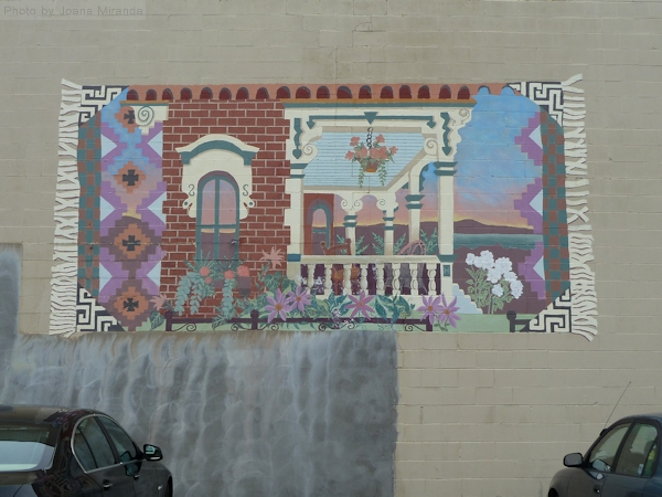 "Photo of graffiti ""rug"" on brick wall in Saratoga Springs, NY - taken by Joana Miranda"